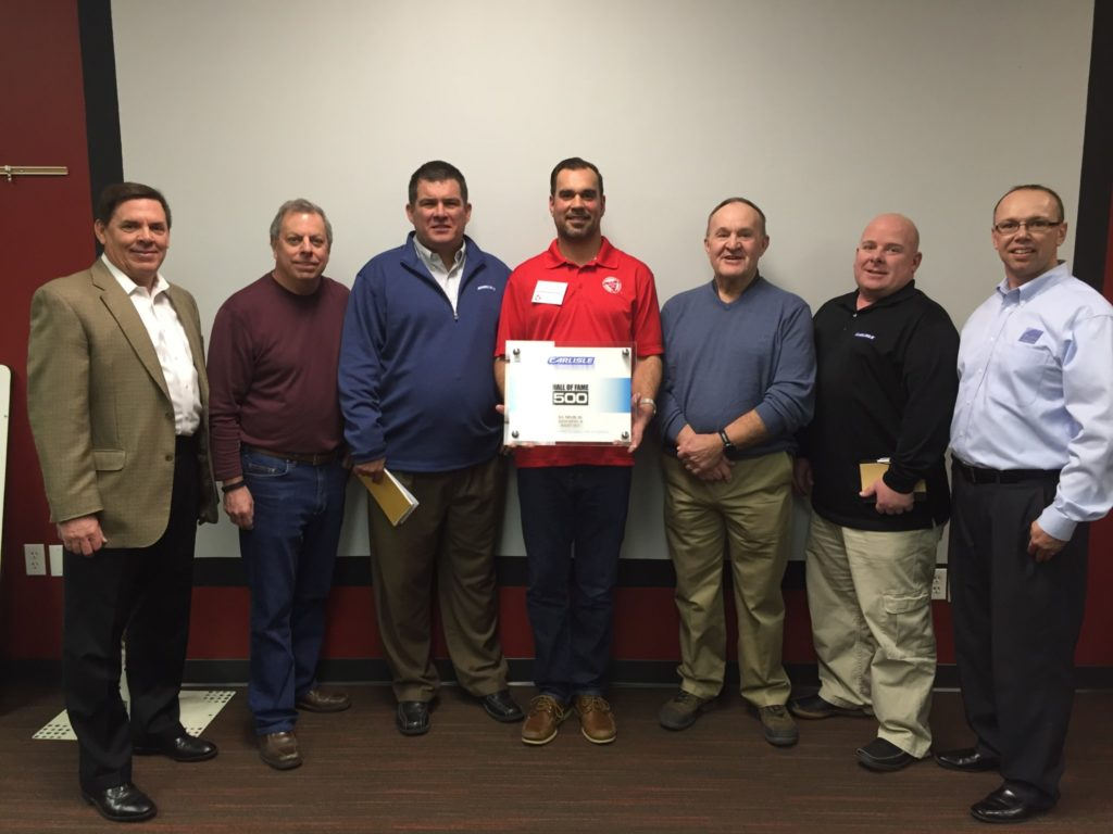 Dc Taylor Received A Carlisle Syntec Award For 500 Perfect